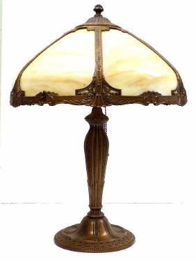 MILLER ? ART NOUVEAU BRONZED SLAG TABLE LAMP Antique