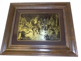 FREDERIC REMINGTON - INDIAN DANCE EGLOMISE ETCHING