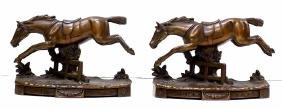 JENNINGS BROTHERS BRONZED HORSE BOOK ENDS Pair Jennings