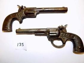 1890 STEVENS EAGLE CAST IRON CAP GUN PISTOLS Stevens