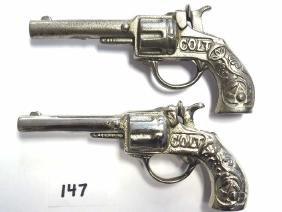 2 STEVENS COLT CAST IRON CAP GUN PISTOLS 2 Stevens Colt