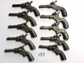 10 PIECE STEVENS PLUCK CAST IRON CAP GUN PISTOLS Group