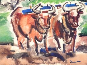ARTHUR GARFIELD DOVE - OXEN WATERCOLOR