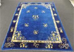 CHINESE NICHOLS FLORAL SILK ROOM SIZE RUG Early Chinese