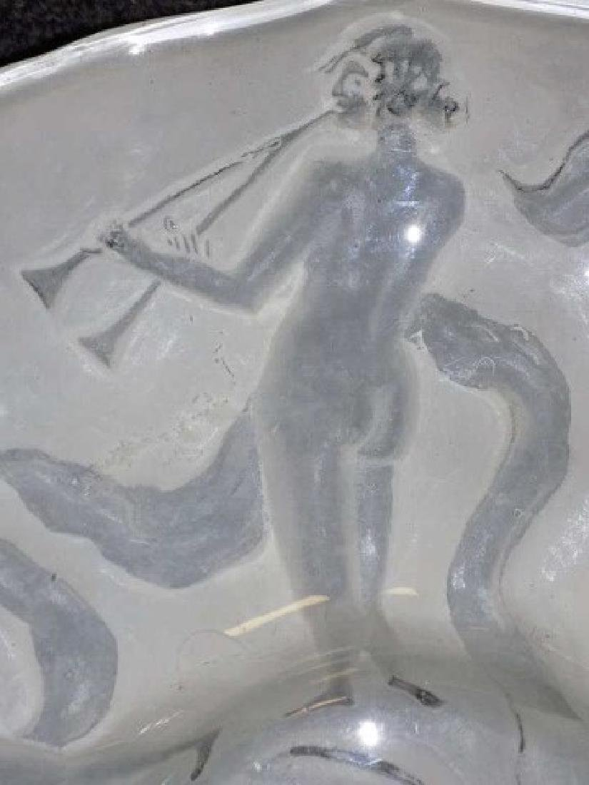 LALIQUE STYLE DANCING NUDES CAMEO GLASS CHARGER - 3