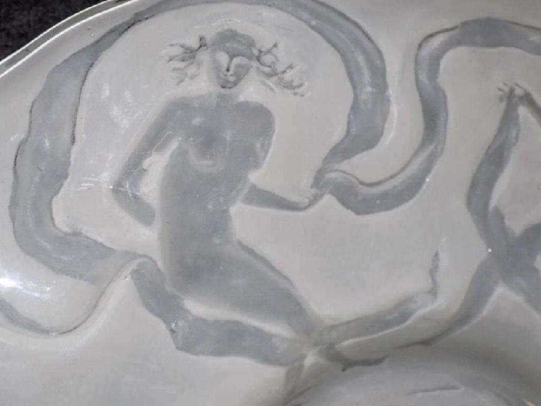 LALIQUE STYLE DANCING NUDES CAMEO GLASS CHARGER - 4