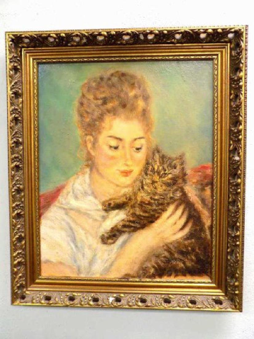 AFTER RENOIR - WOMAN WITH CAT PAINTING