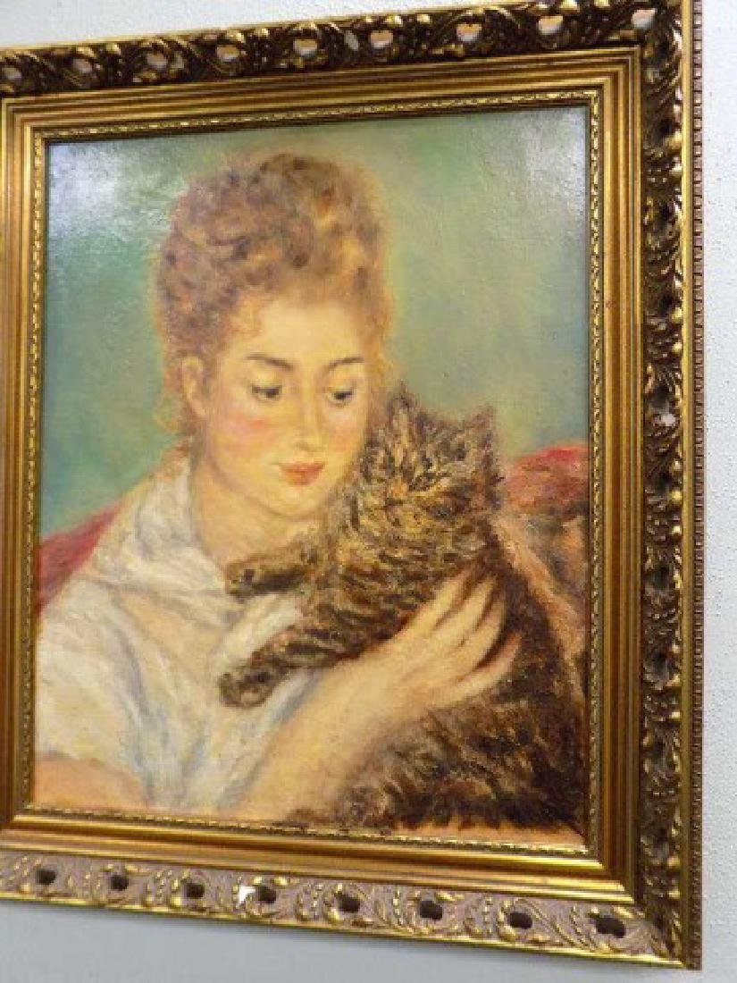 AFTER RENOIR - WOMAN WITH CAT PAINTING - 2
