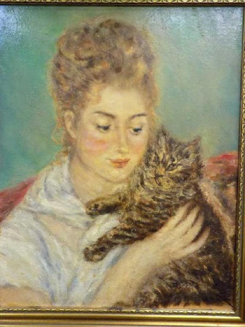 AFTER RENOIR - WOMAN WITH CAT PAINTING - 3