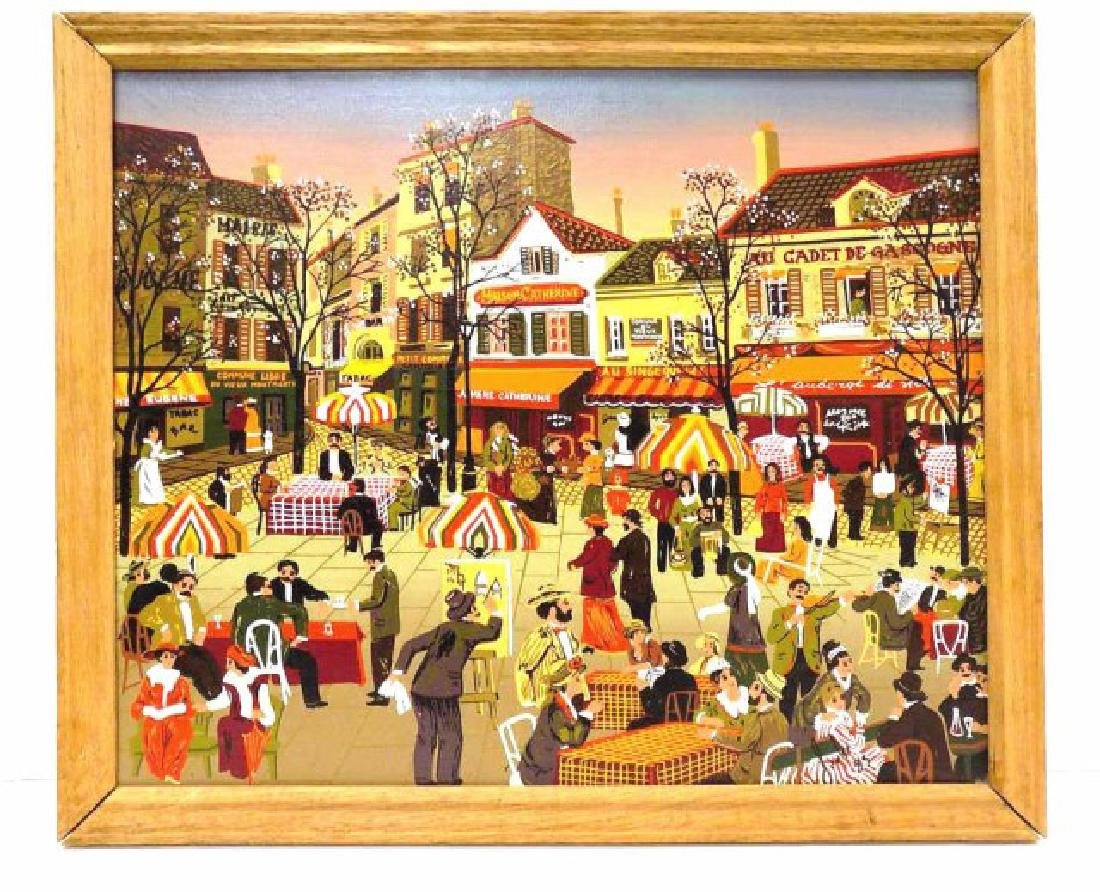 ILLEGIBLY SIGNED FRENCH VILLAGE FOLK ART PAINTING