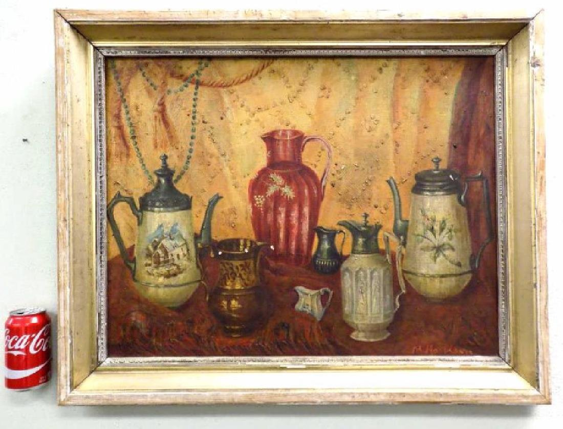 M. HAR_ISON ? PITCHER STILL LIFE PAINTING