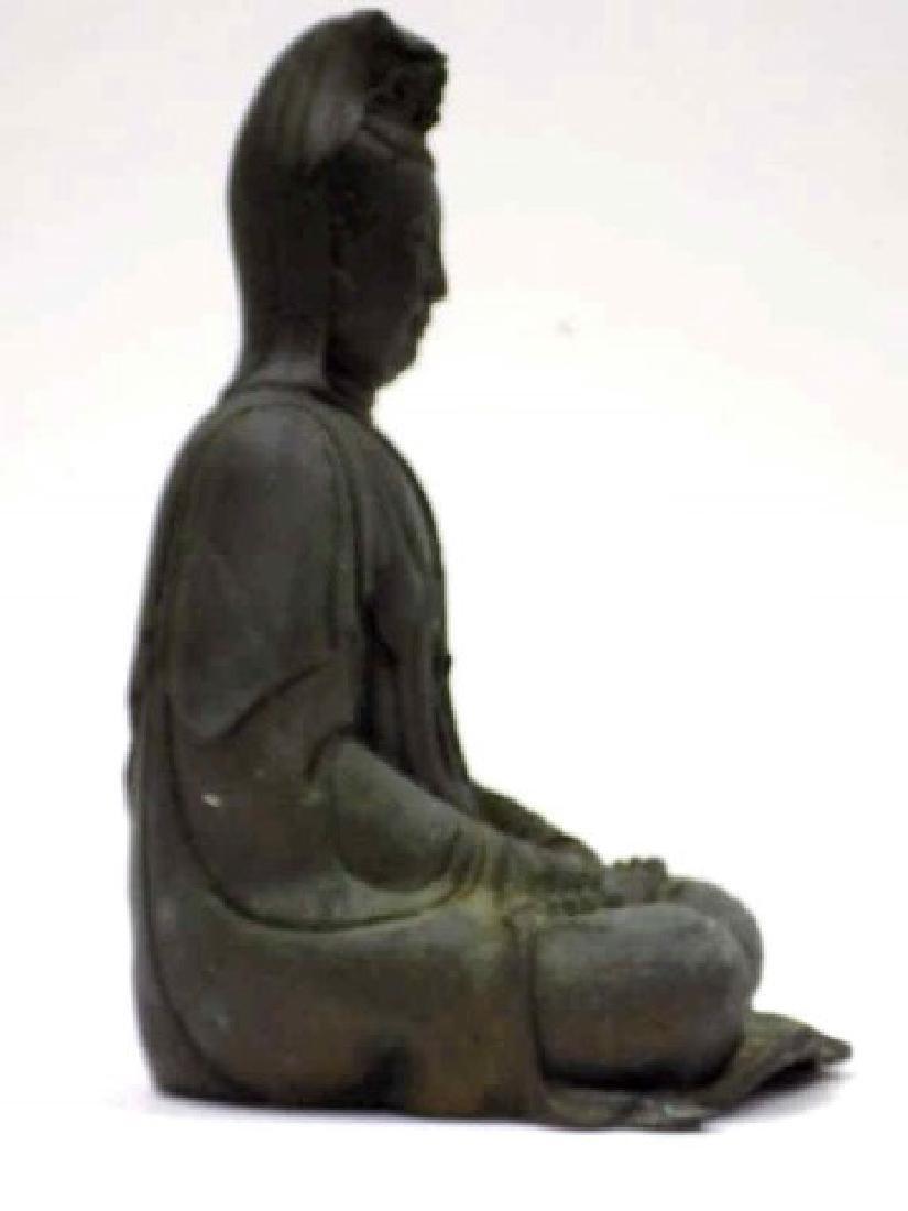 ANTIQUE CHINESE BRONZE KUAN YIN / GUAN YIN STATUE - 4