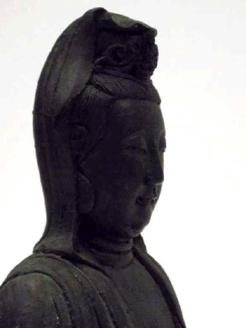 ANTIQUE CHINESE BRONZE KUAN YIN / GUAN YIN STATUE - 5
