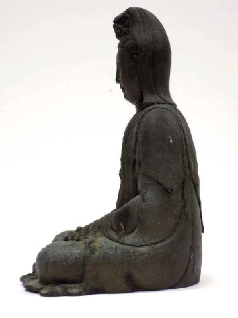 ANTIQUE CHINESE BRONZE KUAN YIN / GUAN YIN STATUE - 6