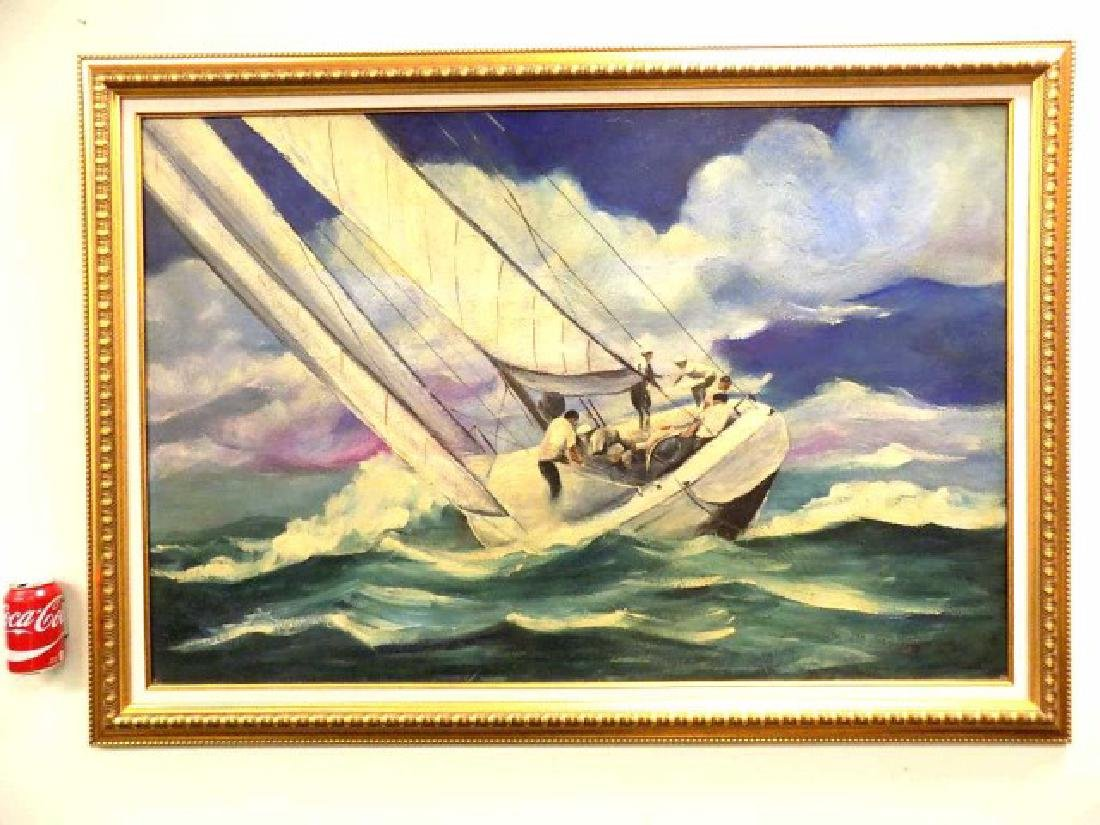 PETER WICK KENNEDY BOYS NANTUCKET SAILING PAINTING