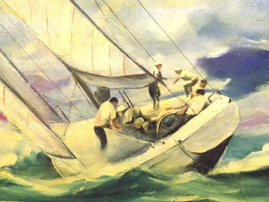 PETER WICK KENNEDY BOYS NANTUCKET SAILING PAINTING - 2