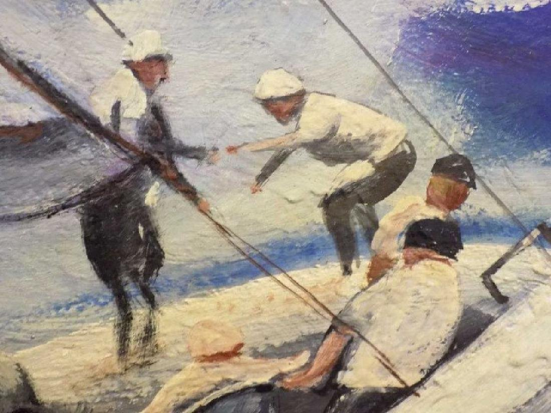 PETER WICK KENNEDY BOYS NANTUCKET SAILING PAINTING - 3