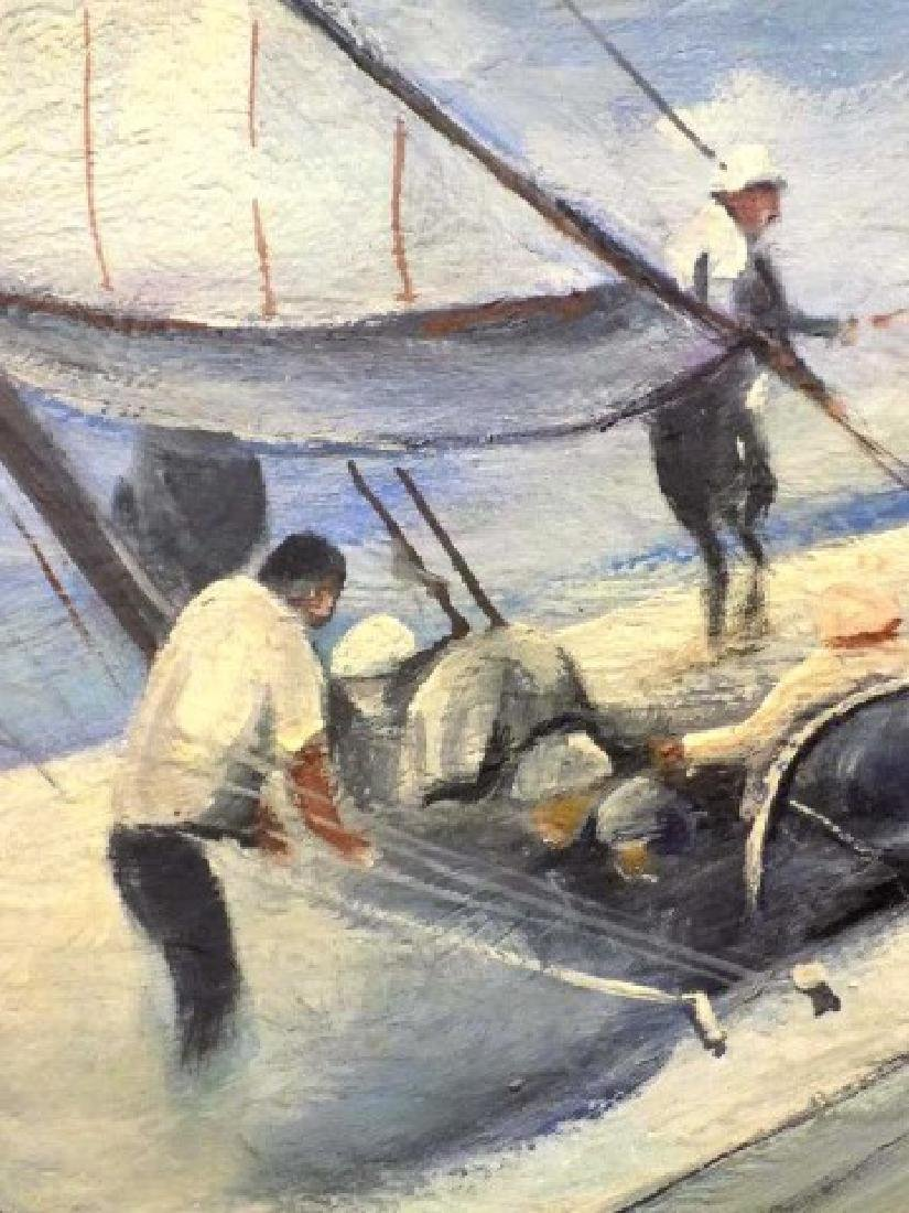 PETER WICK KENNEDY BOYS NANTUCKET SAILING PAINTING - 4