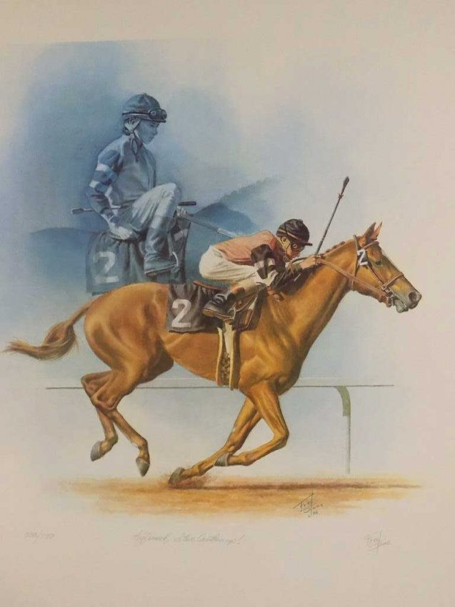 FRED STONE SIGNED HORSE RACE LITHOGRAPH