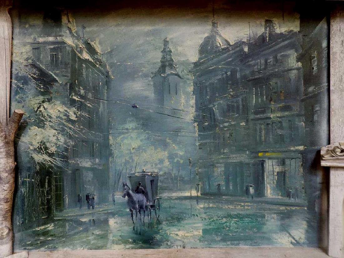 V. SKARCHKOV - HORSE & CARRIAGE STREET SCENE PAINTING - 2