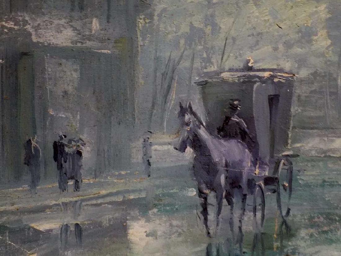 V. SKARCHKOV - HORSE & CARRIAGE STREET SCENE PAINTING - 3