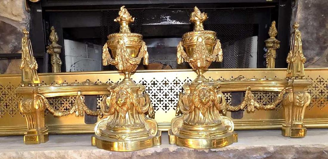 NEOCLASSICAL LION & URN BRASS ANDIRONS Exceptional Pair