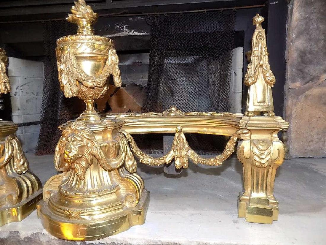 NEOCLASSICAL LION & URN BRASS ANDIRONS Exceptional Pair - 5