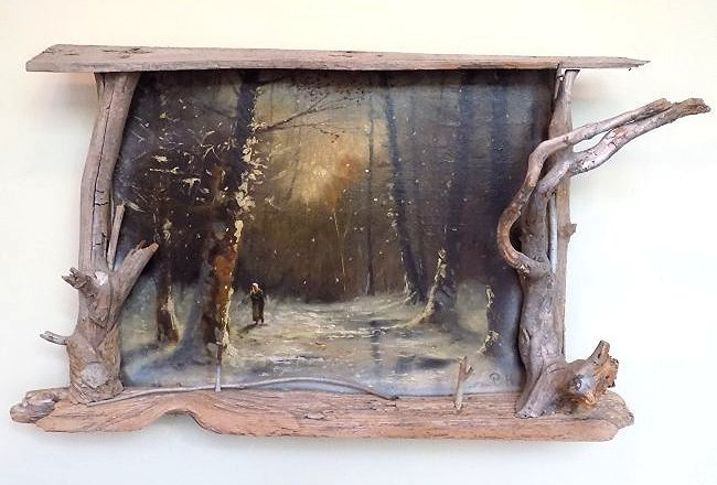 P.H. - RUSSIAN WINTER WOODLANDS PAINTING