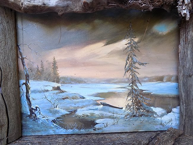 V. TENMAN - LUMINIST WINTER PINE TREES PAINTING - 2