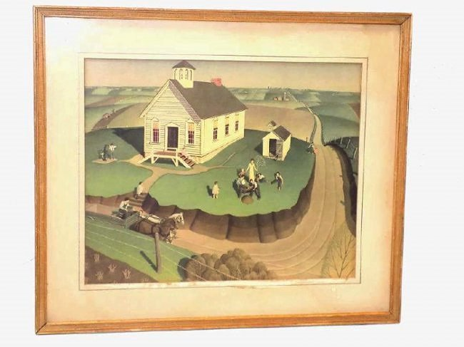GRANT WOOD - ARBOR DAY LITHOGRAPH