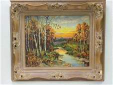 AUTUMN COUNTRY SUNSET PAINTING