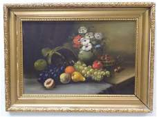 SIGNED TABLE FRUIT STILL LIFE PAINTING