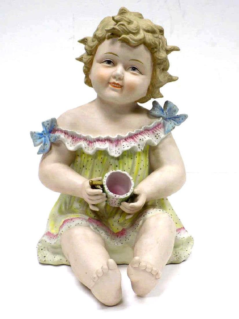 VICTORIAN BISQUE BABY WITH CUP FIGURE