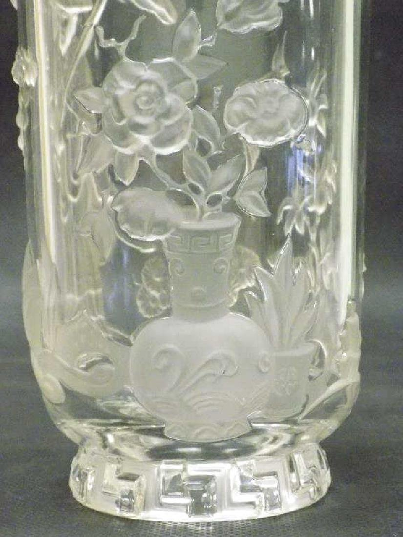 ORIENTALIST SIGNED LEAD CRYSTAL GLASS VASE - 5