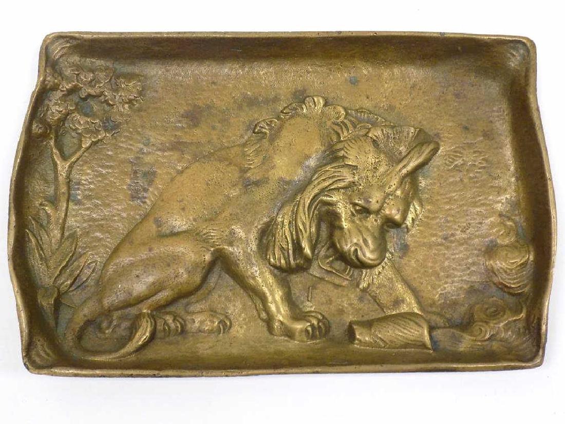 ANTIQUE BRONZE LION ARTS & CRAFTS SCULPTED TRAY