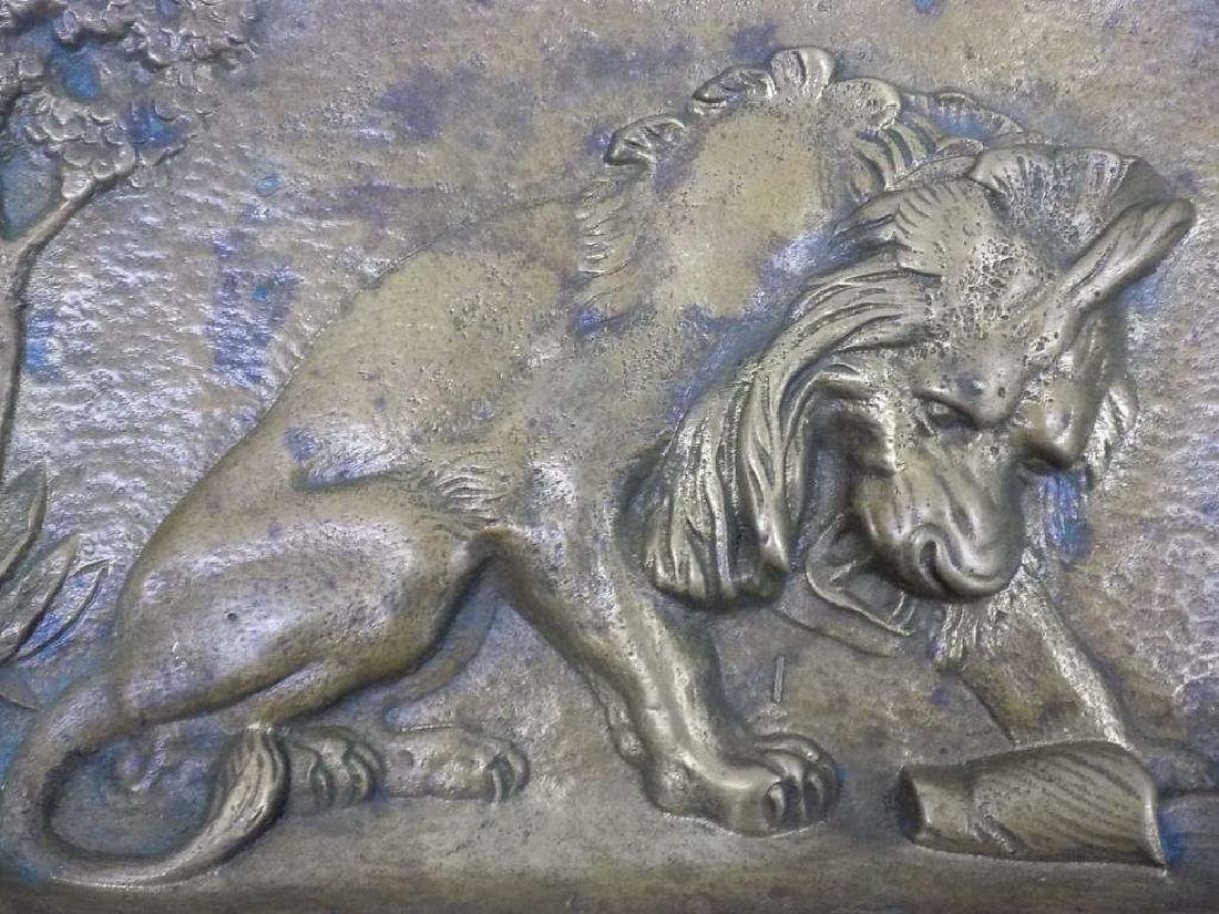 ANTIQUE BRONZE LION ARTS & CRAFTS SCULPTED TRAY - 2