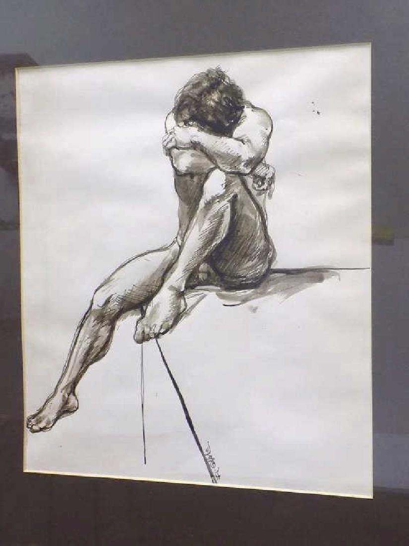 ILLEGIBLY SIGNED - NUDE MALE WATERCOLOR