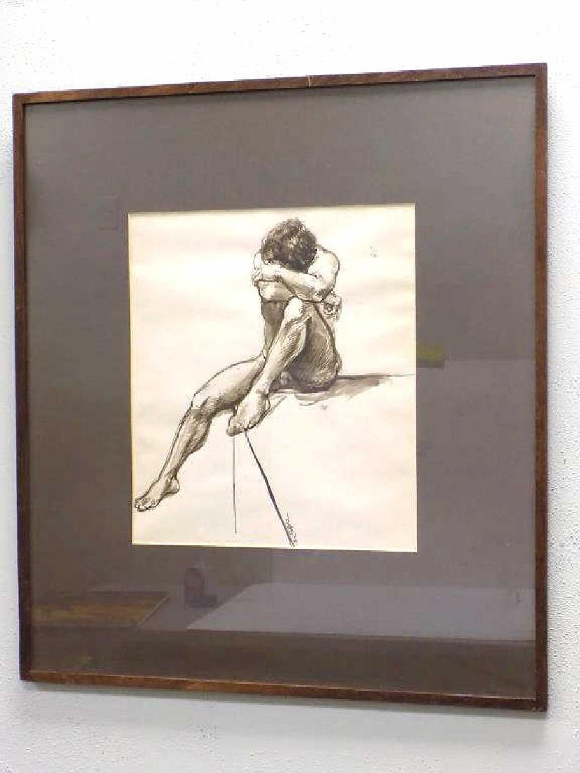 ILLEGIBLY SIGNED - NUDE MALE WATERCOLOR - 2