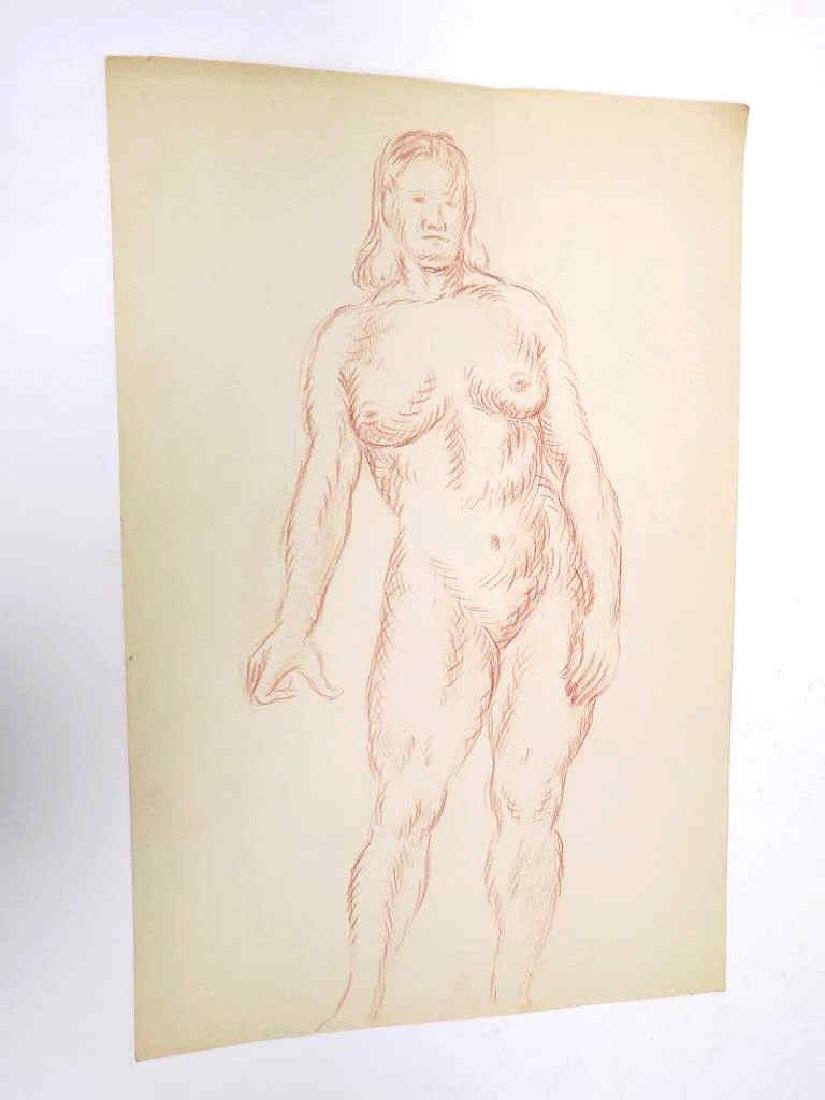 REALIST FEMALE NUDE CONTE CRAYON DRAWING