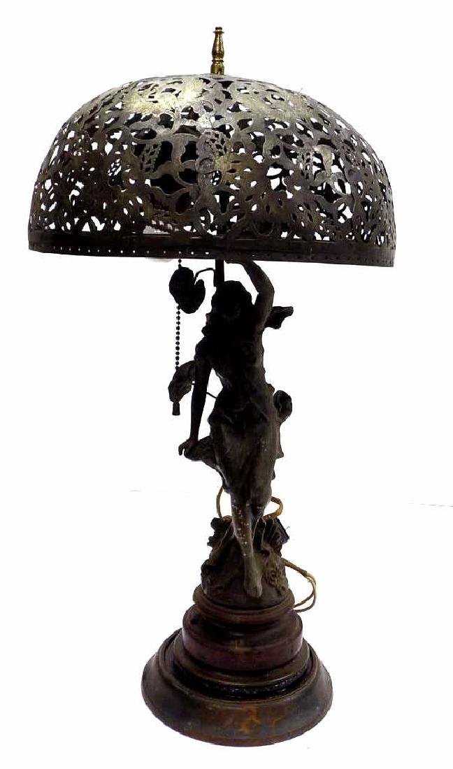 MOREAU - VICTORIAN MAIDEN WHITE METAL PARLOR LAMP