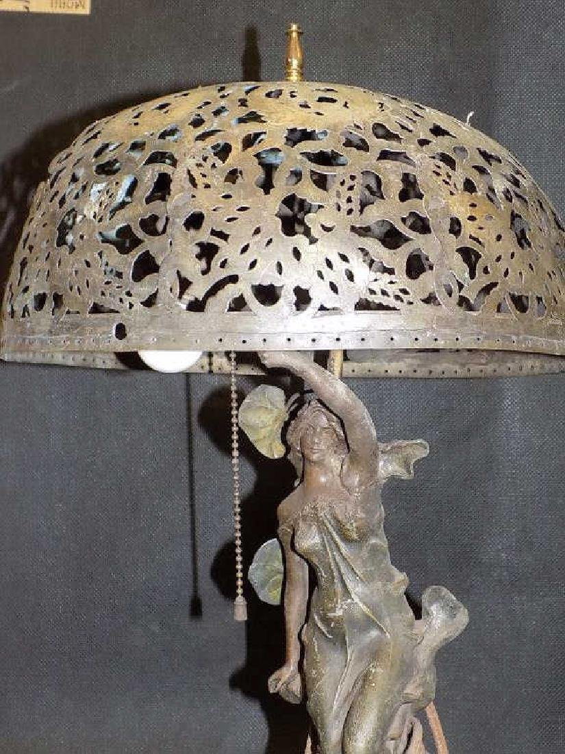 MOREAU - VICTORIAN MAIDEN WHITE METAL PARLOR LAMP - 2
