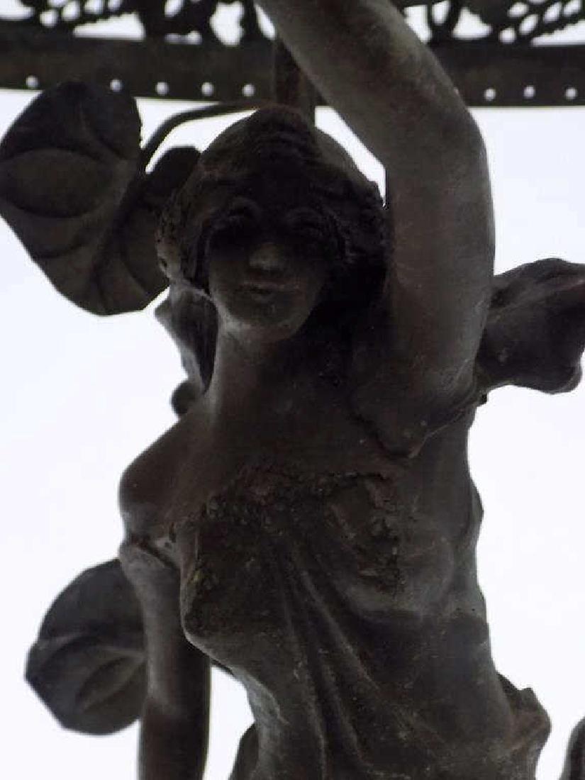 MOREAU - VICTORIAN MAIDEN WHITE METAL PARLOR LAMP - 4