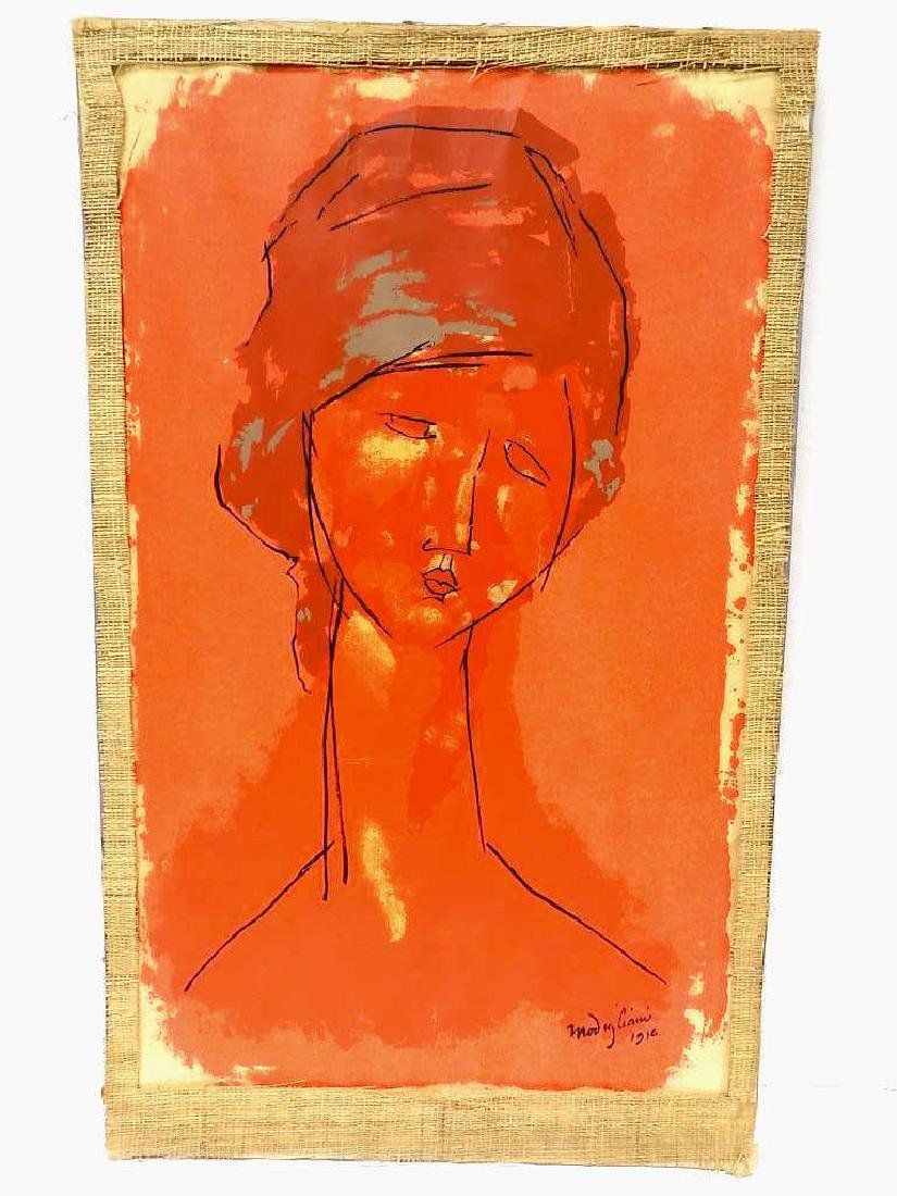 MODIGLIANI - HEAD OF A WOMAN 1910 SCREEN PRINT