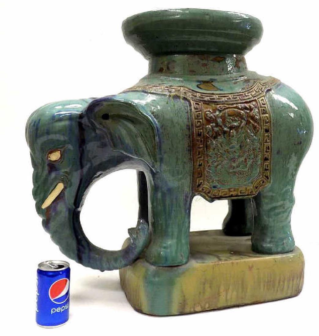 ANTIQUE CHINESE GLAZED ELEPHANT GARDEN SEAT