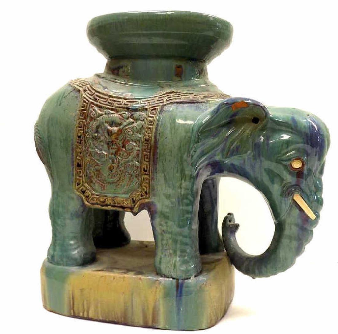 ANTIQUE CHINESE GLAZED ELEPHANT GARDEN SEAT - 2