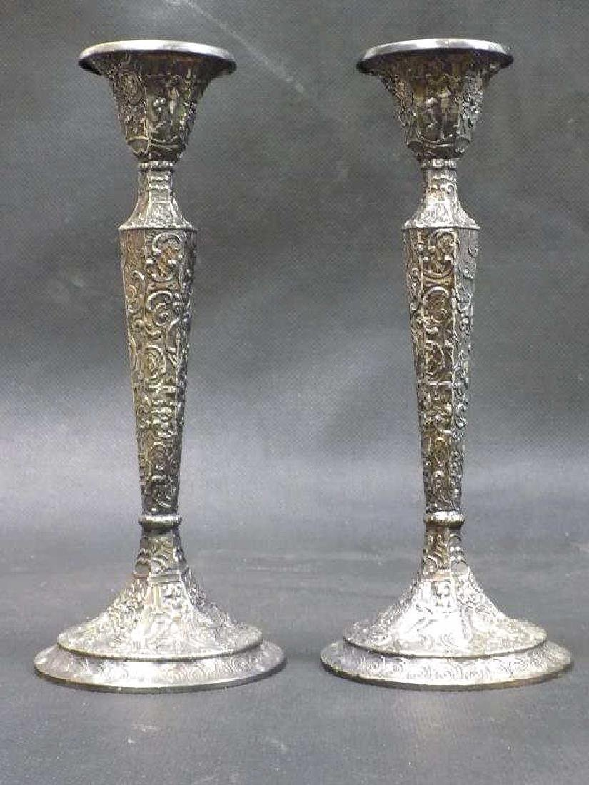 DERBY COMPANY ROCOCCO SILVERPLATE CANDLESTICKS