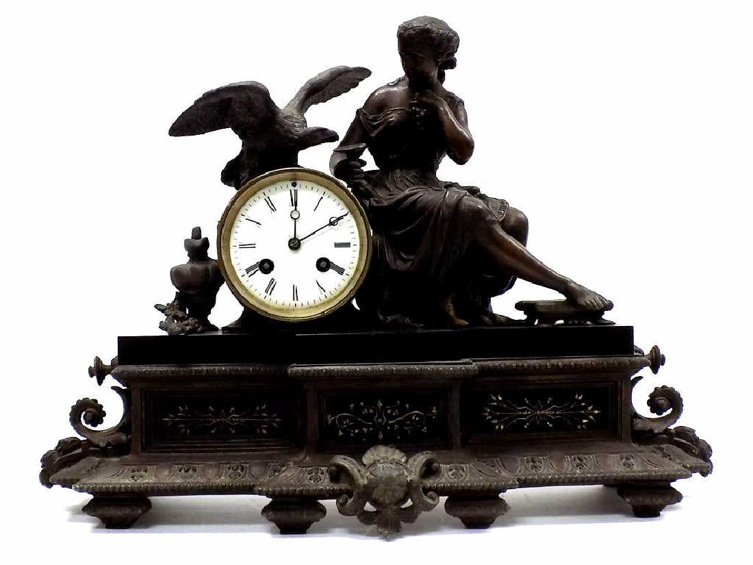 VICTORIAN FIGURAL BRONZED MANTEL CLOCK