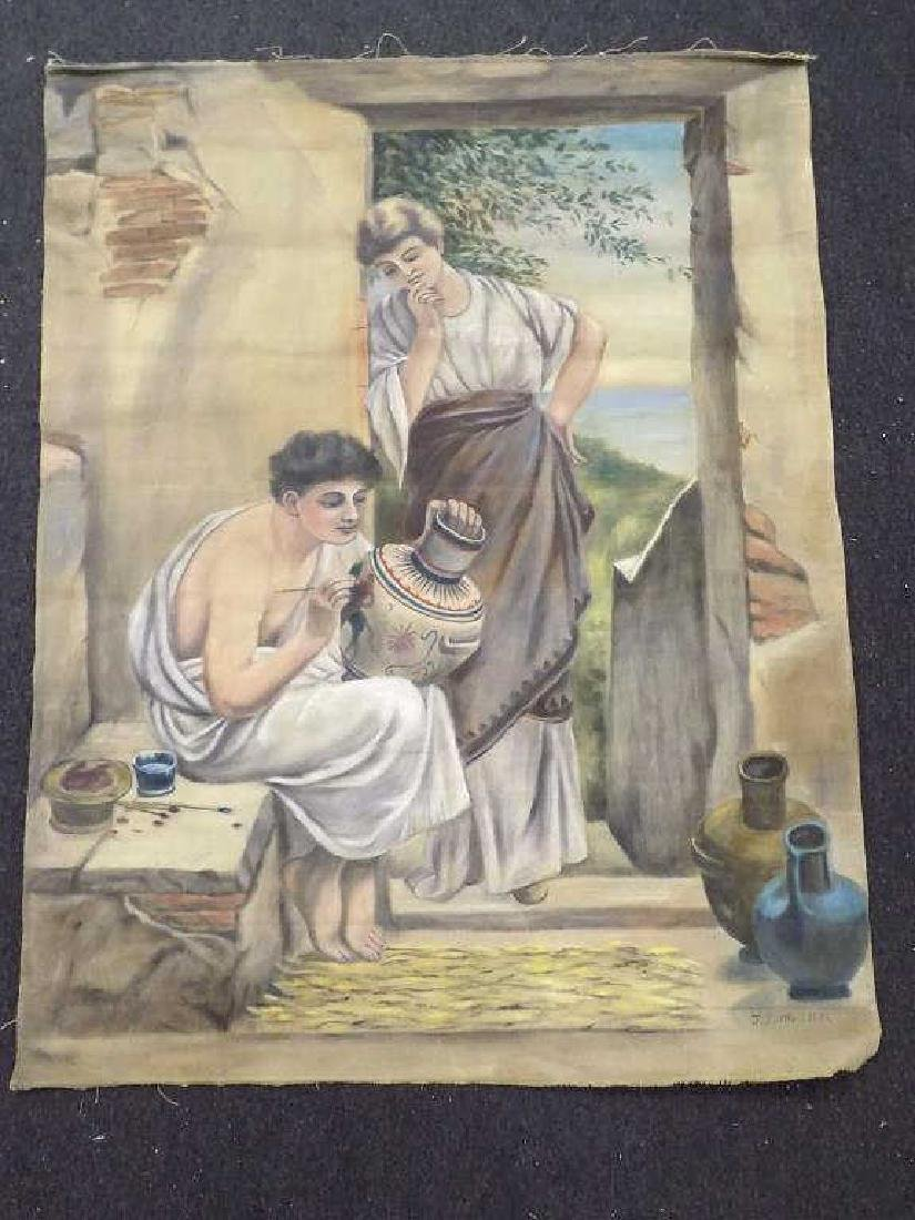 J. TUTTLE - BIG GREEK POTTER PAINTING