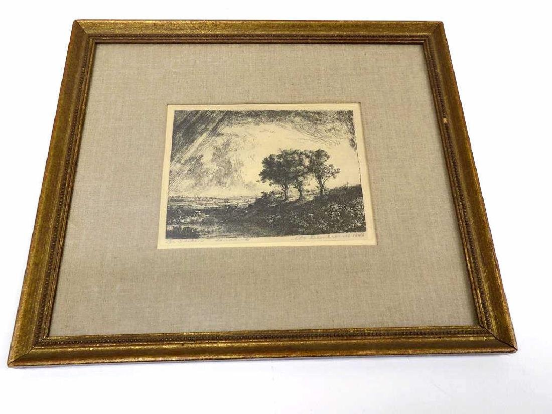 REMBRANDT - THREE TREES SIGNED ETCHING