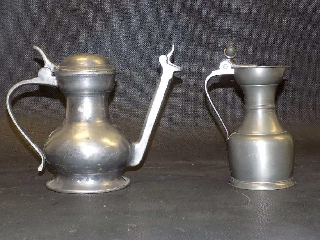 EARLY HALLMARKED PEWTER ALE PITCHER